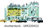 illustration of city life | Shutterstock . vector #189220412
