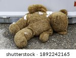 Teddy Bear In Garbage With Snow ...