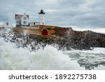 Waves Break Around Nubble Lighthouse After Winter Storm in Maine