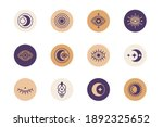 sacred geometry forms with moon ... | Shutterstock .eps vector #1892325652
