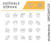 set line icons of stress and... | Shutterstock .eps vector #1892369125