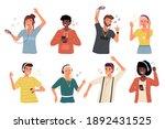 people with headphones. happy... | Shutterstock .eps vector #1892431525