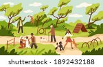 dog park. people walk and play... | Shutterstock .eps vector #1892432188
