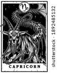 Capricorn Blackwork Tarot Card...