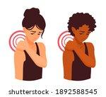 a cute girl massaging her sore... | Shutterstock .eps vector #1892588545