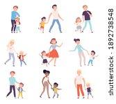 parents taking their children... | Shutterstock .eps vector #1892738548