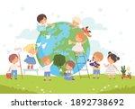 kids help save the world ... | Shutterstock .eps vector #1892738692