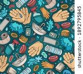 hand wash hand drawn doodles...   Shutterstock . vector #1892795845