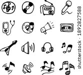 multimedia hand drawn icons ... | Shutterstock .eps vector #1892827588