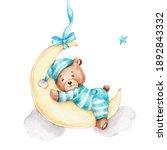 Cute Little Bear Boy Sleeping...
