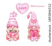Watercolor Gnomes Couple ...