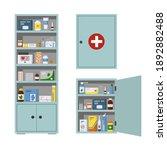 medicine chest full of drugs ... | Shutterstock .eps vector #1892882488