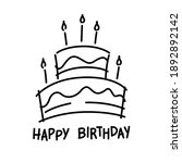 doodle cake and happy birthday  ...   Shutterstock .eps vector #1892892142