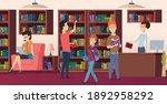 library background. bookshelves ... | Shutterstock . vector #1892958292