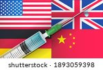 covid 19 vaccine syringe on... | Shutterstock .eps vector #1893059398