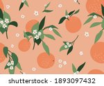 orange floral seamless pattern. ... | Shutterstock .eps vector #1893097432