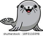Funny Cute Sea Seal Vector...