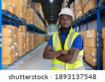 black man with hard hat and... | Shutterstock . vector #1893137548