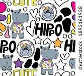 cute hippo baby girl seamless... | Shutterstock .eps vector #1893161938