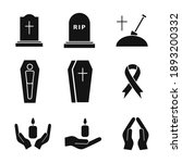 funeral icon set. death concept.... | Shutterstock .eps vector #1893200332