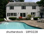 white house with pool and lawn... | Shutterstock . vector #1893228