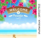 the wooden signboard welcome    ... | Shutterstock .eps vector #189327512