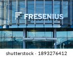Small photo of Bad Homburg, Hessen, Germany, january 10th 2021. Fresenius building entrance with logo. Health group with products for dialysis, hospital and outpatient care. Horizontal