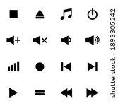 media player icon set vector...