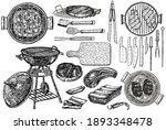 set of barbecue elements drawn... | Shutterstock .eps vector #1893348478