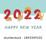 postcard happy new year 2022 ... | Shutterstock .eps vector #1893349102