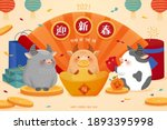 2021 hand drawn cny background  ... | Shutterstock .eps vector #1893395998