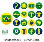 brazil icon set. flat design. | Shutterstock .eps vector #189343286