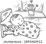 little kid sleeping in his bed... | Shutterstock .eps vector #1893460912