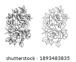 floral sketch for tattoo.... | Shutterstock . vector #1893483835
