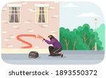 vandal damaging city building.... | Shutterstock .eps vector #1893550372