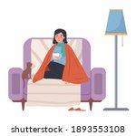 female character having cold.... | Shutterstock .eps vector #1893553108