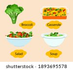 broccoli dishes. soup in white...   Shutterstock .eps vector #1893695578