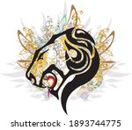 lion icon colorful floral... | Shutterstock .eps vector #1893744775