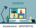 vdo conference business meeting ... | Shutterstock .eps vector #1893789742