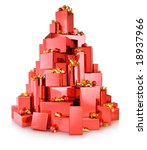 Pile Of Red Gift Boxes In The...