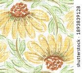 watercolor sunflower motif...   Shutterstock . vector #1893839128