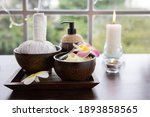 view of spa treatment set with... | Shutterstock . vector #1893858565