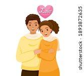 black skin couple hugging each... | Shutterstock .eps vector #1893872635