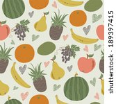 seamless background with fruits ... | Shutterstock .eps vector #189397415