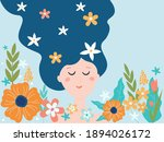 spring dreamy girl with long...   Shutterstock .eps vector #1894026172