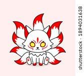 cute white nine tailed fox... | Shutterstock .eps vector #1894031638