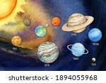 watercolor planets of the solar ... | Shutterstock . vector #1894055968