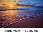 radiant sea beach sunset | Shutterstock . vector #189407582