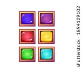 set of colorful jelly game ui...