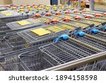 Many Shopping Carts Stacked In...